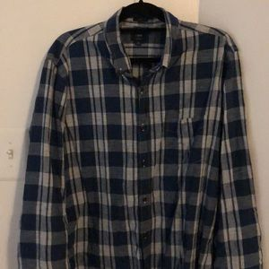 J Crew Blue White Plaid Homespun Slim Fit Shirt XL